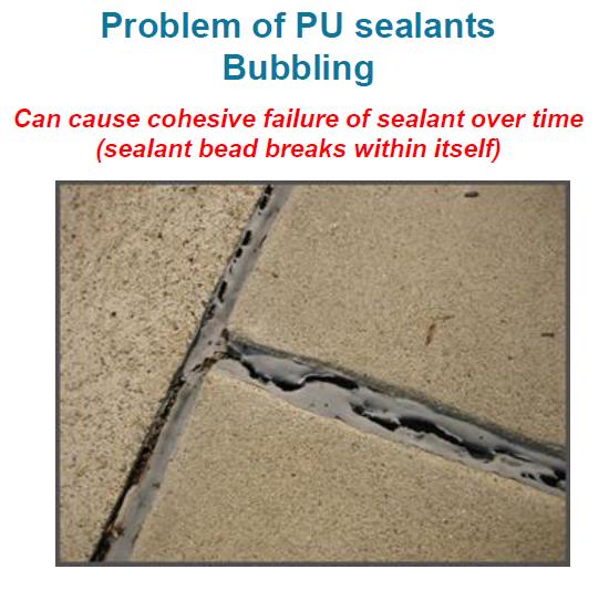 MS sealant. Adhesive failure. floor joint