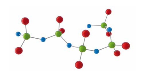 Model of PDMS chain where green is silicon, blue is oxygen, red are methyl groups