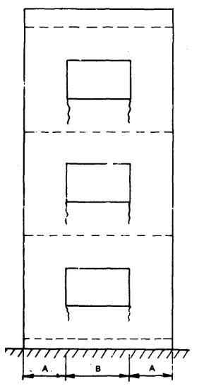 Hình 2. Nứt dọc tường tòa nhà cao tầng do biến dạng đàn hồi
